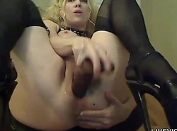 Canadian bosomy blond cuckold on touching garters plus nylons
