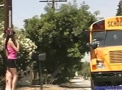 Playful puberty schoolbus ride